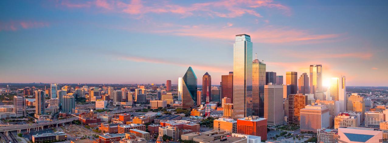 Dallas skyline during sunset